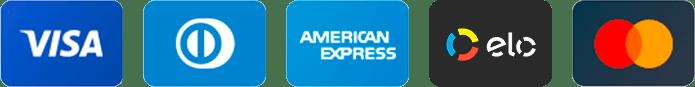 Bandeiras aceitas: MasterCard, Visa, Diners, American Express e Elo