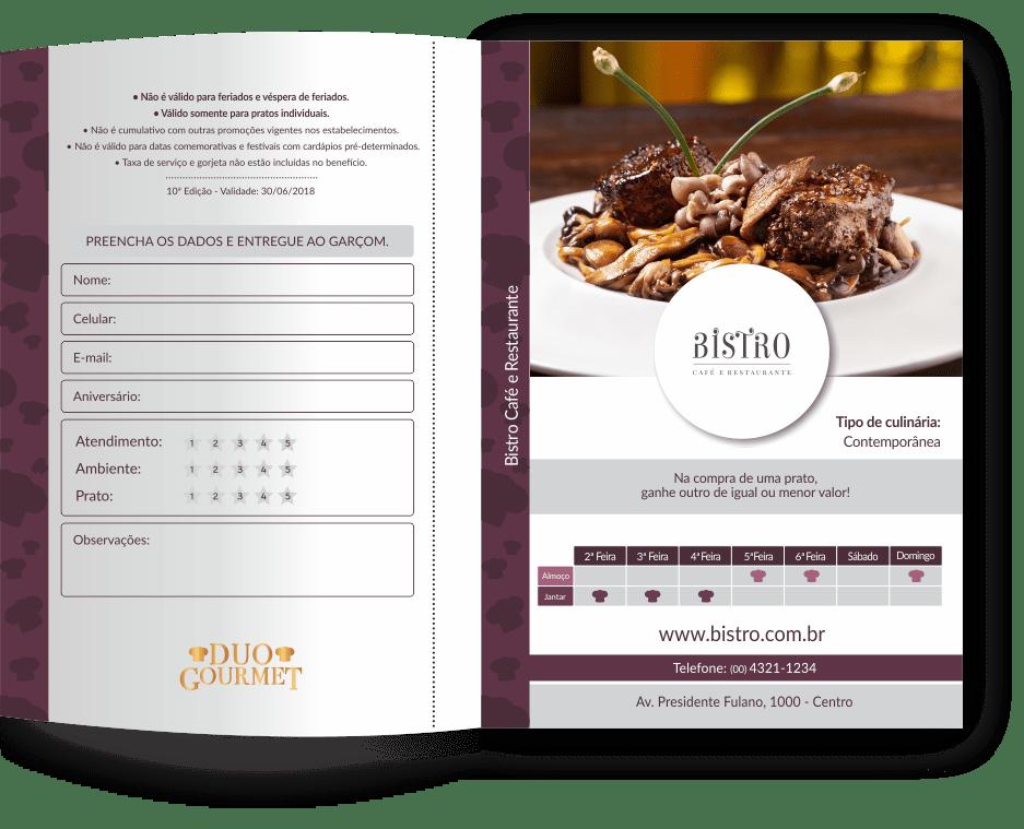 Cada página é um voucher Duo Gourmet