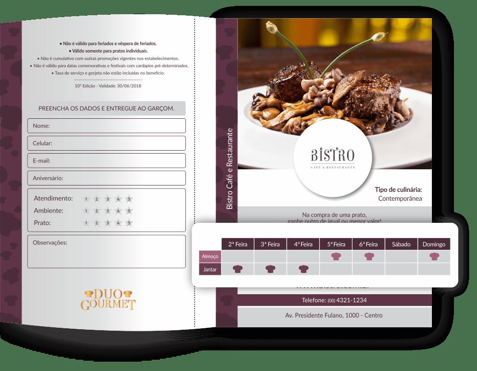 Confira os dias e horários do Voucher Duo Gourmet