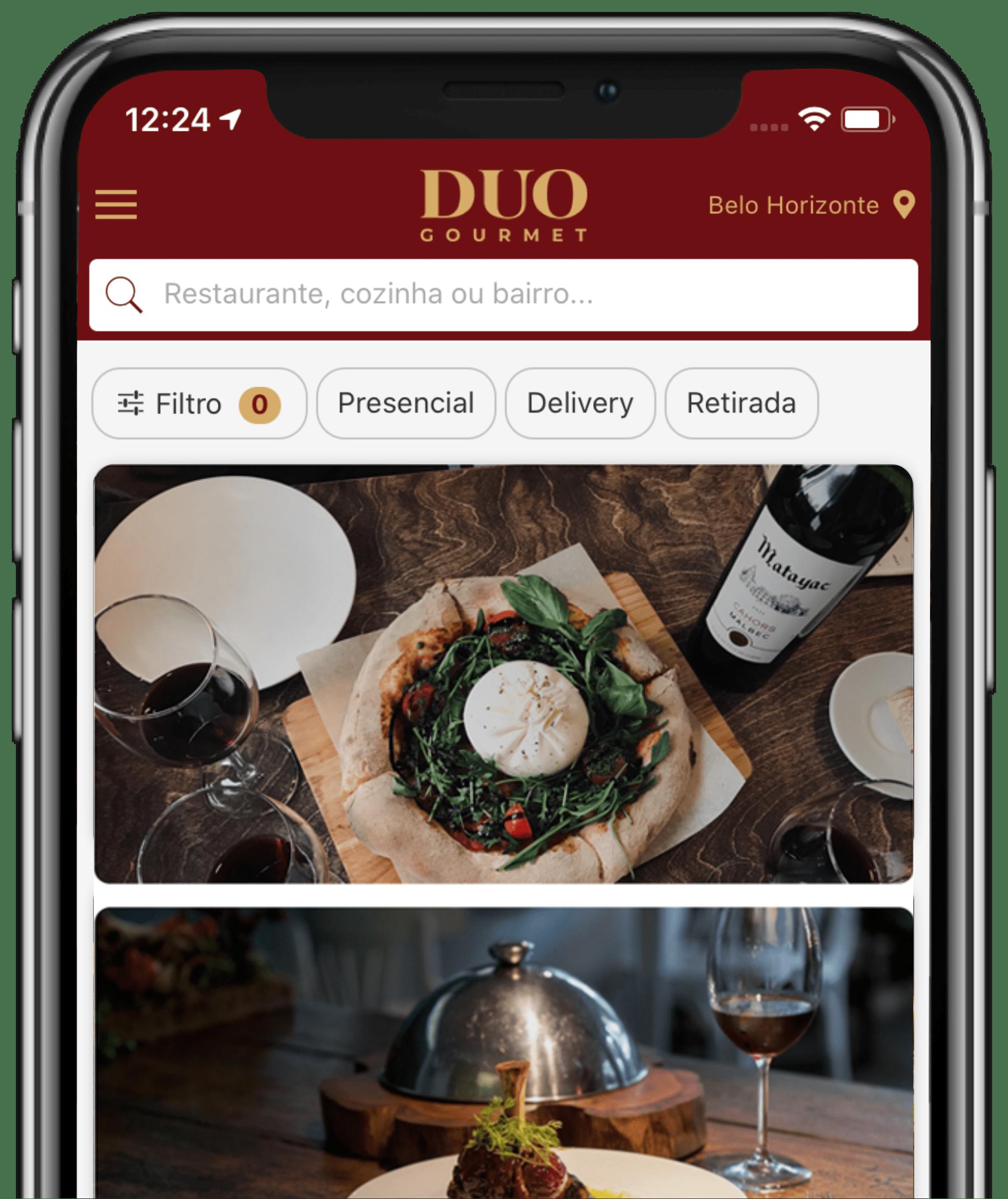 Baixe o app e escolha um restaurante. Para facilitar, use o filtro.